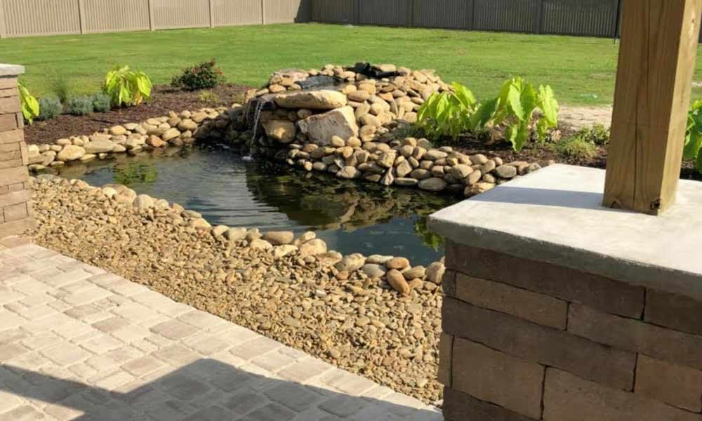 Outdoor pond installation in Jacksonville, New Bern, Greenville & Eastern NC